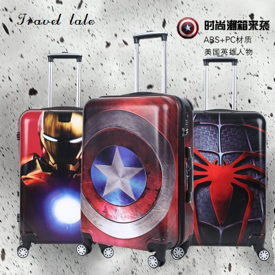 Путешествия сказка PC 20/24 дюйма Сумки на колёсиках Spinner бренд дорожного чемодана Капитан Америка/Человек паук/Железный человек путешествия Ч
