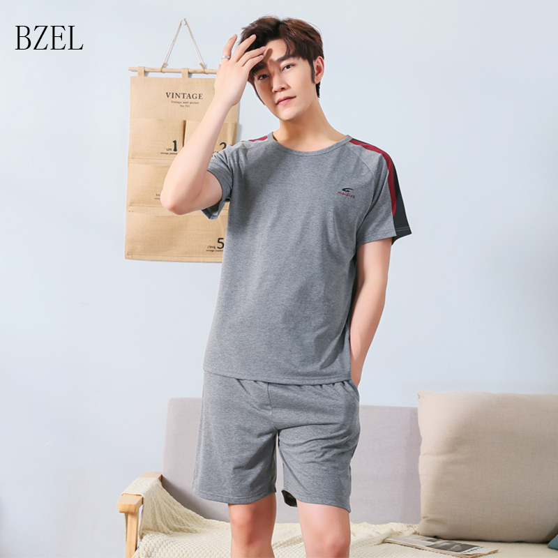 BZEL Pajama Sets Men Pyjamas Homme Leisure Male Nightwear Cotton Sleepwear Summer 2 Pcs Set Pijamas Men Plus Size Tops + Shorts