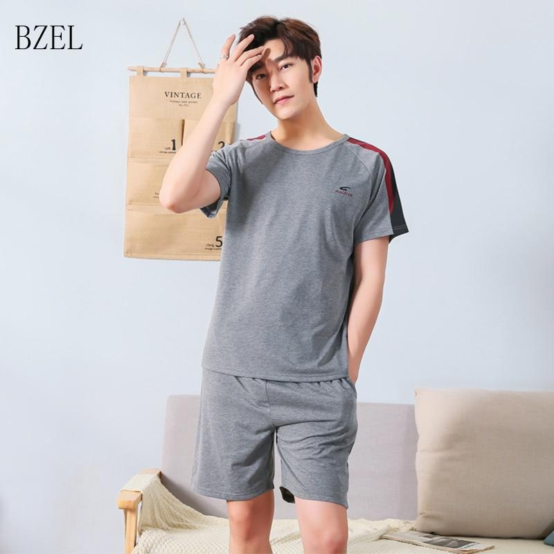 BZEL Pajama Sets Men Pyjamas Homme Leisure Male Nightwear Cotton Sleepwear Summer 2 Pcs Set Pijamas Men Plus Size Tops + Shorts