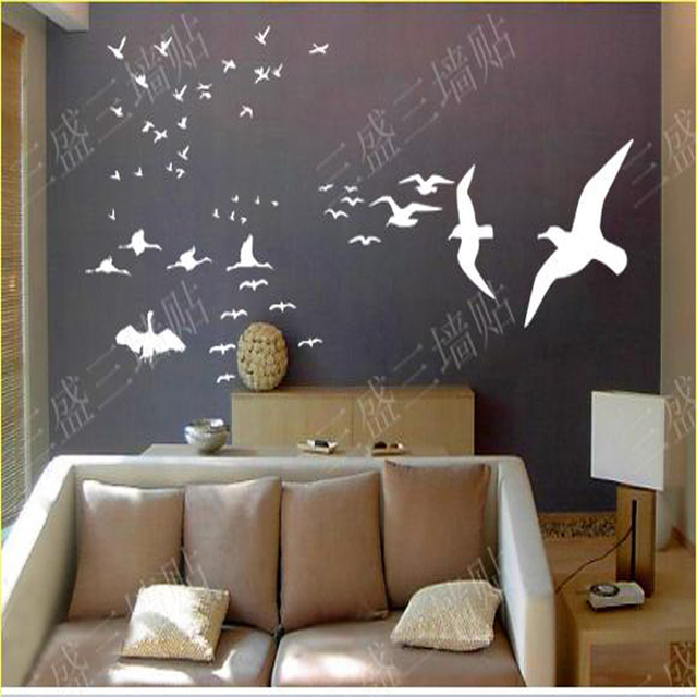 2016 real sale flying birds wall stickers home decor room background decoration vinyl art decals living - Home Decor 2016