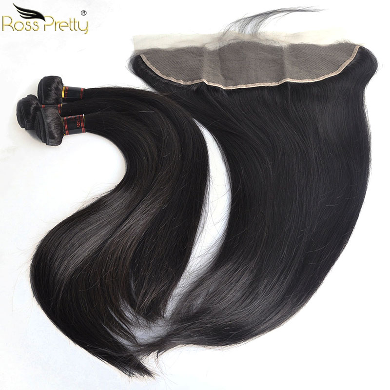 Ross Pretty Remy Human Hair Bundles With Frontal Pre Plucked And Baby Hair Brazilian Straight Hair Lace Frontal With Bundles