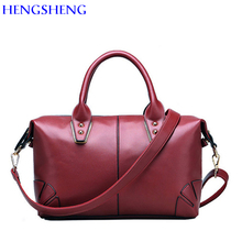 HENGSHENG European Fashion PU leather women shoulder bags of large bucket women messengers bag and ladies handbags
