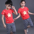 2016 NEW children clothing set red stars boys set baby regular sets short t shirt+pants 2 pcs set clothes kids suit 2-7 Years