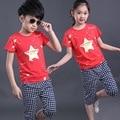 2016 NUEVOS niños de la ropa estrellas rojas niños set de bebé regulares establece corta camiseta + pantalón 2 unids ropa set juego de los cabritos 2-7 años