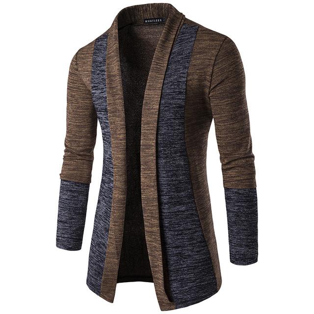 2016 outono e inverno dos homens novos clássicos punhos buttonless cor patchwork cardigan gola virada para baixo fino casaco camisola dos homens