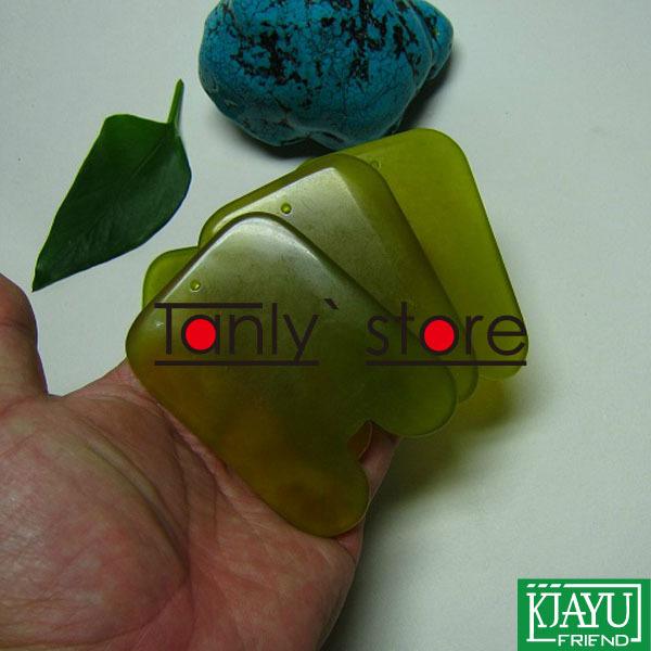 High quality! Thicken! wholesale & retail body massage guasha kit facial beauty plate square fat waist 100% jade
