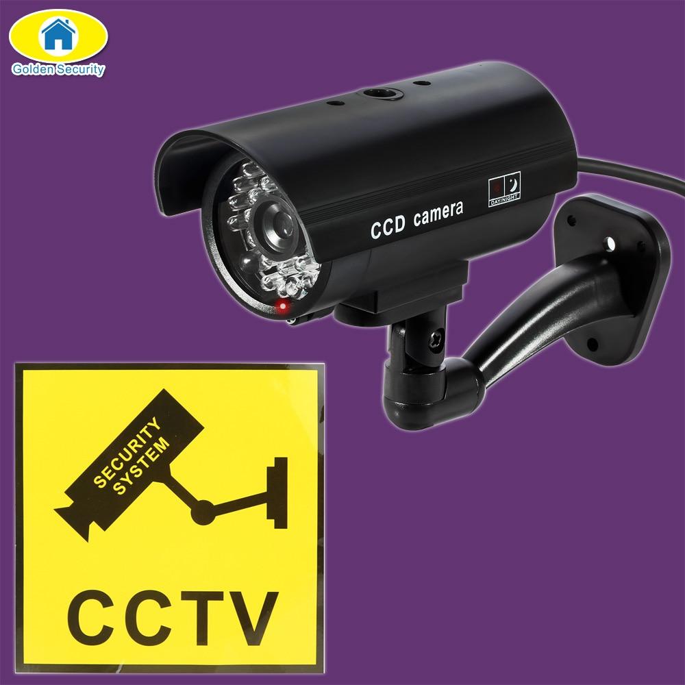 Golden manequim câmera de segurança cctv câmera de vigilância de segurança em casa com led flash luz falsa câmera impermeável ao ar livre