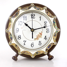 Fashion vintage desk clock bedroom studio office Home Decoration wood shell mute table clock classic desk clock