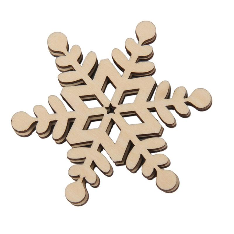 8x Christmas Wooden Snowflake Stickers Embellishments Craft