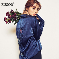 RUGOD 2017 Autumn New Arrival Elegant Floral Embroidery Sweet Poplin Women Shirts Fashion And Vintage Pullover