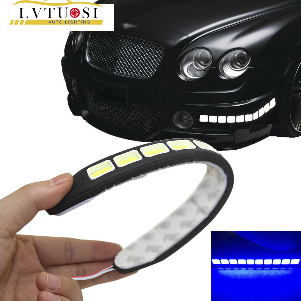 2 Pcs COB LEDs DRL Luz de Circulação Diurna À Prova D 'Água Luzes - Faróis do carro - Foto 1