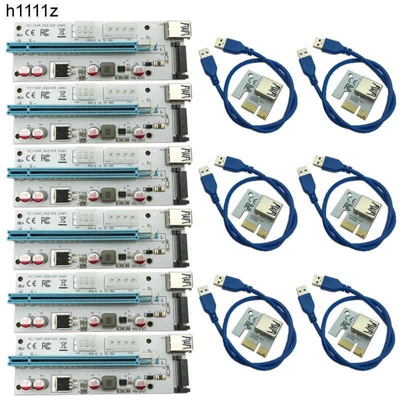 Nueva USB3.0 008 s pci-e Riser expreso 1X 4x 8x 16x extender Riser adaptador de tarjeta SATA 15pin a 6pin energía cable interfaz de energía dual