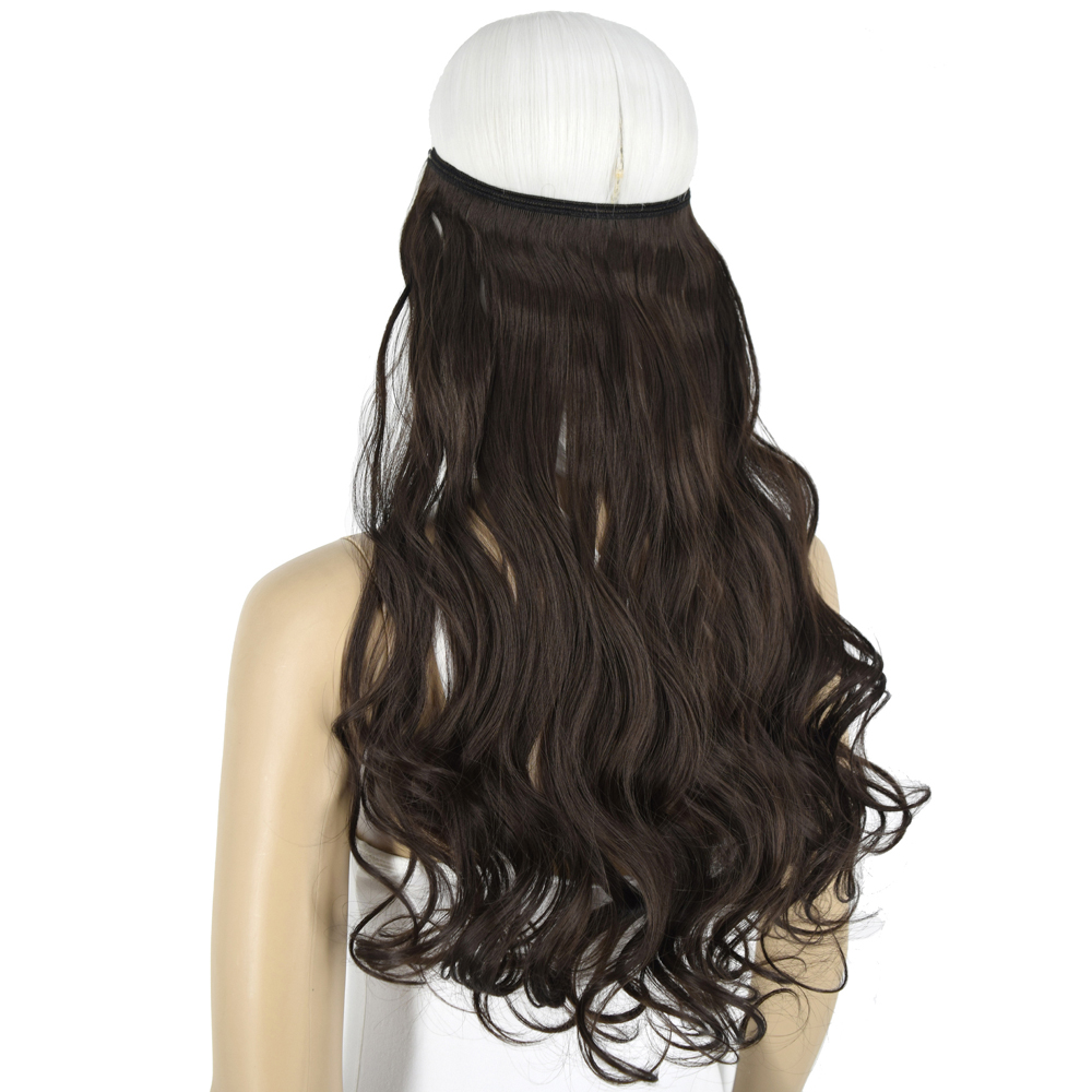 Heat Resistant B5 Synthetic Fiber 100gr Wavy Elasticity Invisible Wire Halo Hair Extensions 8108