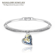 Neoglory Charm Heart Bangles & Bracelets For Women Austrian Crystal Rhinestone Hand Female Jewelry Wholesale Blue 2017 JS4 He1