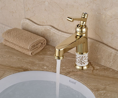 Luxury Deck Mounted Basin Sink Faucet Single Handle Bathroom Sink Mixer Taps Gold Finish luxury wall mounted bathroom basin faucet single handle golden finish sink mixer