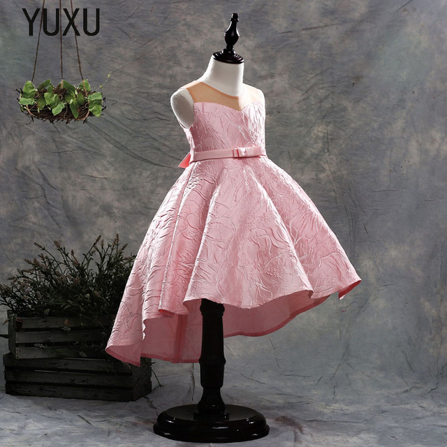 2018 Long tail Lace Ball Gown Flower Girls Dresses Simple