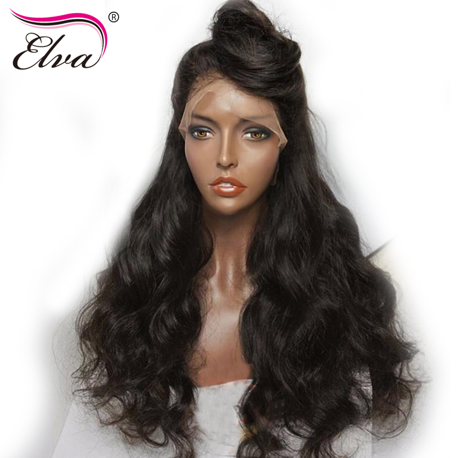 Elva Hair 250 Density 360 Lace Frontal Wig Pre Plucked Natural Hairline Body Wave Brazilian