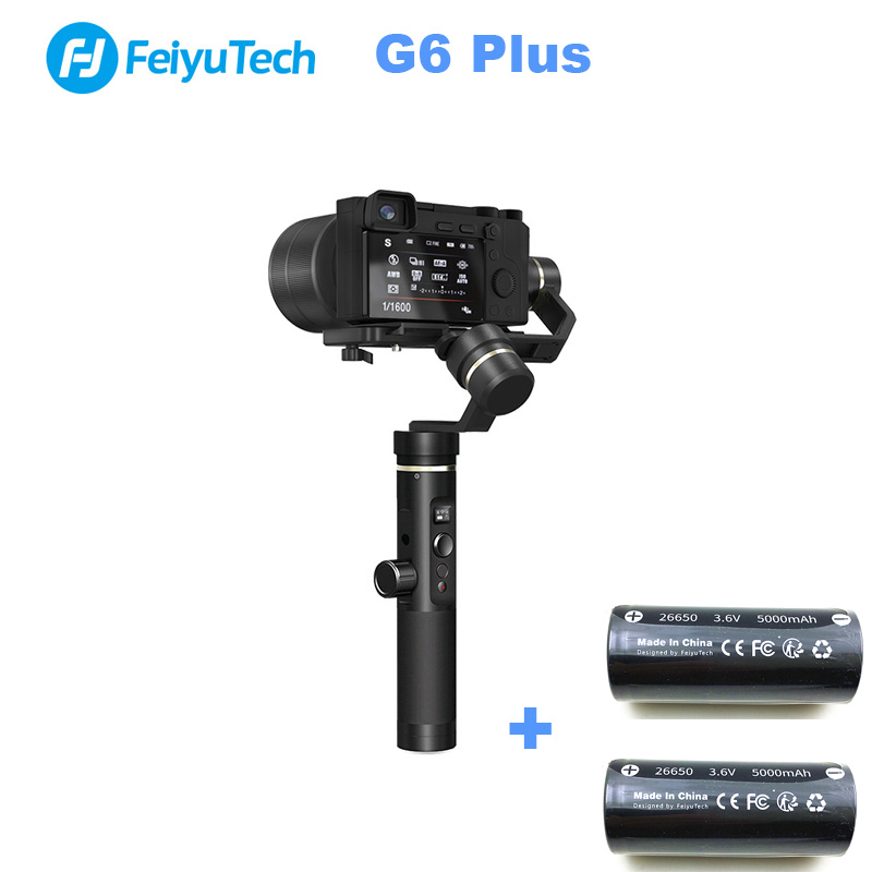 With two batteries FeiyuTech G6 Plus 3 Axis Handheld Gimbal Stabilizer for Camera GoPr Smartphone