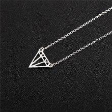 10 geometric hollow nut cone lozenge charm necklace flat polygon triangle shape hollow pendant ladies rhombus pendant necklace rhombus triangle faux gem necklace