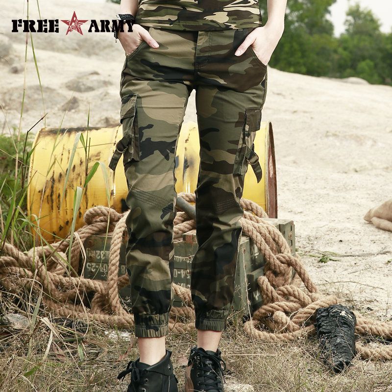FreeArmy Brand Pants Women 2018 Fashion Military Camouflage Cotton Ankle Length Casual Pants Summer Elastic Waist