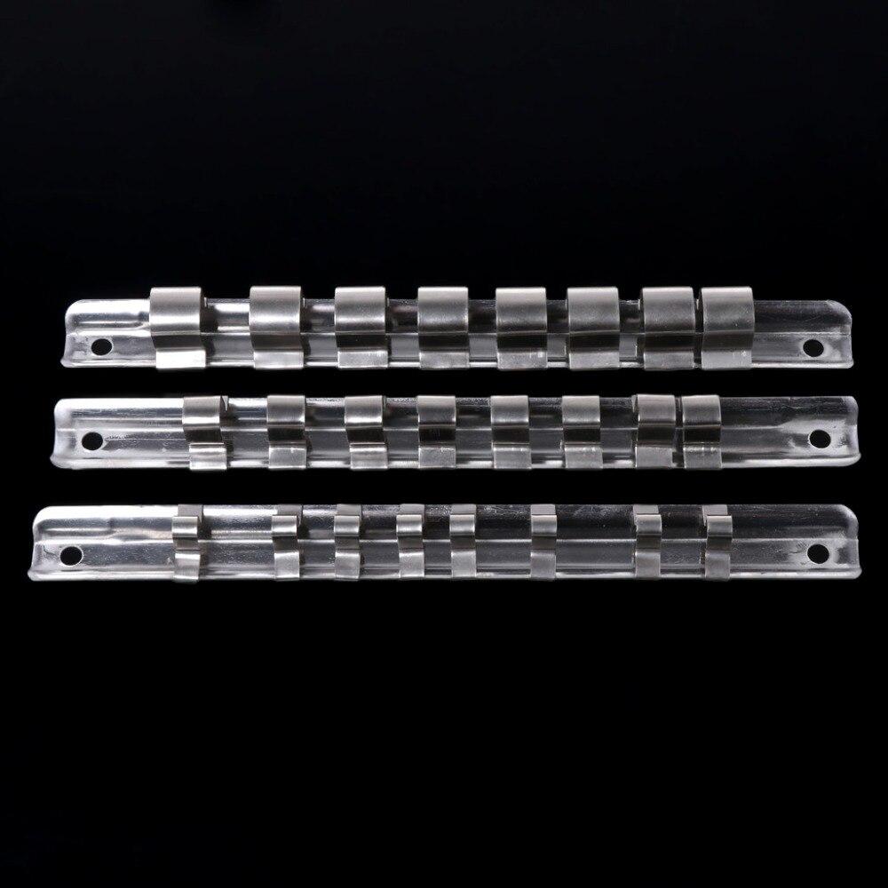 "Stainless Steel Socket Rack Holder 1//4/""3//8/""1//2/"" Clips Tool Organizer Storage"