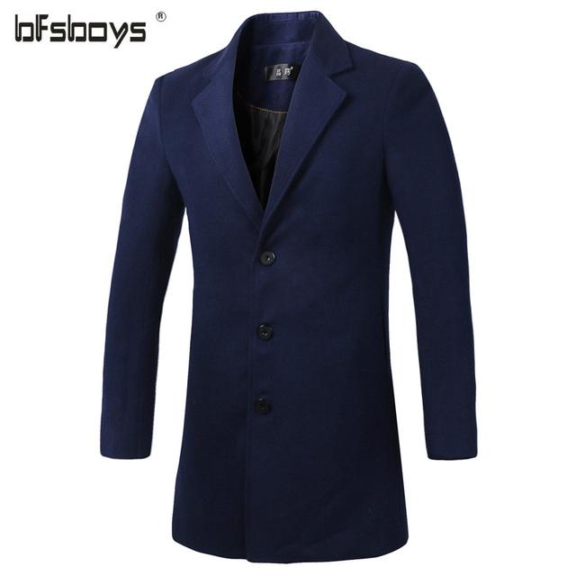 Novo 2016 Mens Designer de Roupas de Estilo Britânico de Lã Cashmere Trench Coat Outono Jaqueta Corta-vento Dos Homens Casaco Casacos 1606-F20