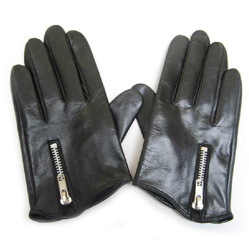 男性の革手袋ファッションクラシックショートサイドフィットタイトなスタイルリアルイタリアユニセックス女性のタッチスクリーン手袋