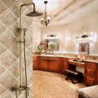 Luxury Bathroom Brass Ceramic Antique Shower Faucet Set Single Handle Wall Mount Exposed Rainfall Shower Mixer