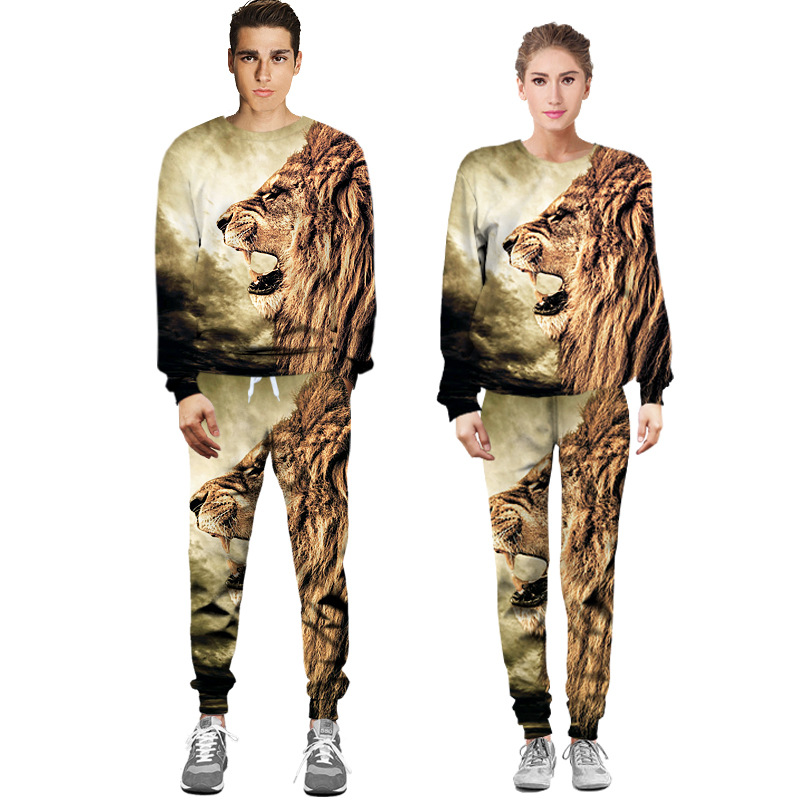Jack Claude Brand 2017 Men Women's Couple 3D printed Animal lion Plus Size Hip hop Sweatshirts Hoodies pants Men's Sets