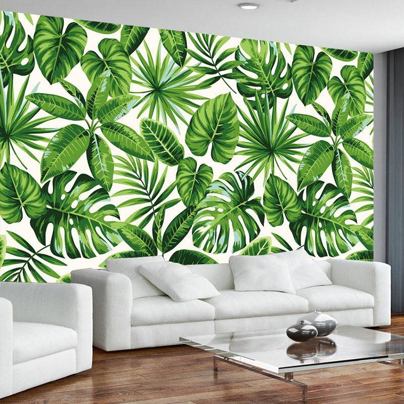 Green Banana Leaves Large Murals Custom 3D Creative Living Room Bedroom Sofa TV Background Photo Wallpaper Modern Home Decor customize leaves blue sky and white clouds 3d ceiling murals wallpaper living room bedroom