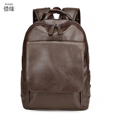 c70baa176da56 Xiyuan الرجال حقائب جلدية حقيقية جلد الرجال حقيبة خمر الذكور الطبيعي حقائب  الكمبيوتر المحمول حقيبة مدرسية