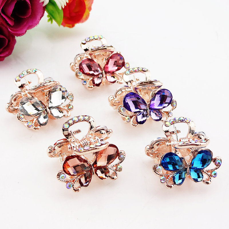 Hair Ornaments Rhinestones Claw Clip   Headwear   Accessories Metal Hair Claw Clip for Women Jewelry Crab Butterfly Hair Clip