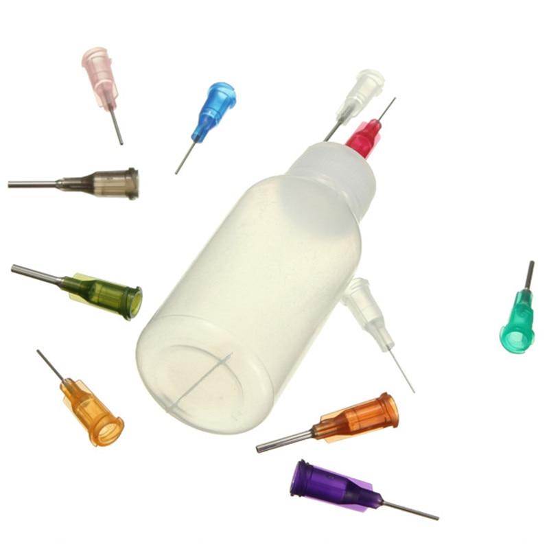 Bouteille distributeur d'aiguilles en polyéthylène Transparent pour la soudure, colophane pâte Flux, + 11 aiguilles, 1 pièce, 30ml