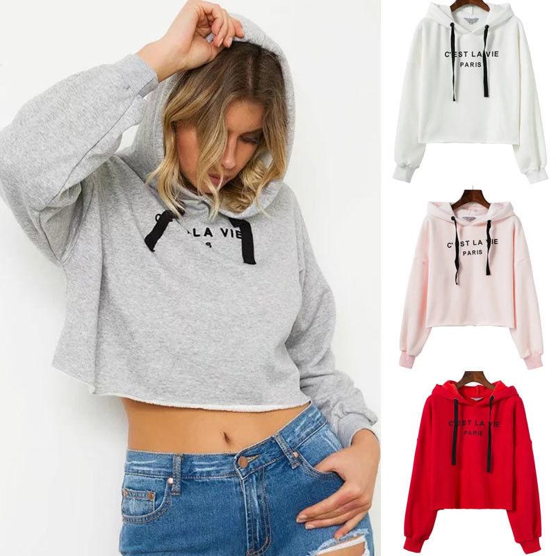 Hirigin New Womens Casual Long Sleeve Crop Top Hoodie Casual Long Sleeve Sweatshirts Jumper Pullover Spring New Tops Uk Spain Hoodies & Sweatshirts