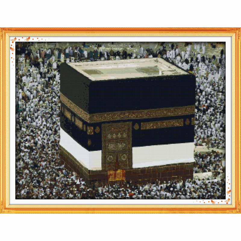 Package Pilgrimage To Mecca Religious Muslim Counted Cross Stitch 11ct Printed 14ct Cross Stitch Diy Chinese Cotton Cross-stitch Kit Crease-Resistance Cross-stitch