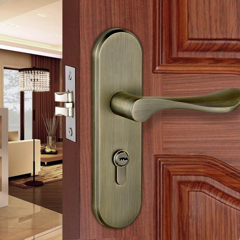 3516 Antique Brass Color Modern style Door lock bedroom room bathroom lock with handle lock top quality 304 stainless steel interior door lock big 50 small 50 series bedroom door anti insert handle lock