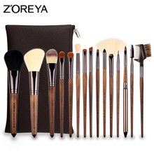 ZOREYA 15pcs Makeup Brush Full Set for Eyeshadow Lipstick Foundation Powder with Womens Cosmetic Bag
