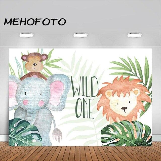MEHOFOTO Wild One Backdrop Jungle Safari Birthday Photography Background 1st Birthday Animal Elephant Lion Baby Shower Backdrops