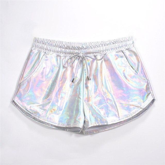 Women Shiny Metallic Hot Shorts 2019 Summer Holographic Wet Look Casual Elastic Drawstring Festival Rave Booty Shorts 4