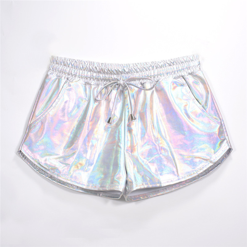 Women Shiny Metallic Hot Shorts 2019 Summer Holographic Wet Look Casual Elastic Drawstring Festival Rave Booty