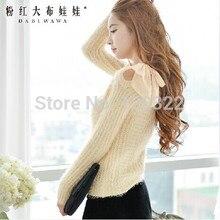 DABUWAWA New 2016 Brand Autumn and Winter Light Yellow Plus Size Slim Casual Women Knitted Sweater Pullovers Wholesale