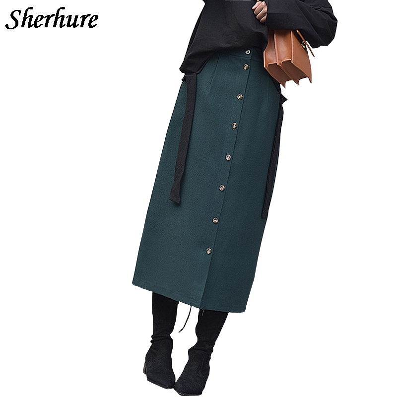 2020 Harajuku Autumn Skirts Women High Waist Solid Button Skirts Vintage Slim Female Skirts Saias Midi Jupe Femme Streetwear