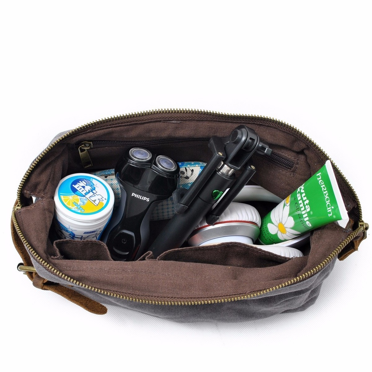 9bc5722c0e DAYGOS Canvas Travel Toiletry Organizer Shaving Dopp Kit Leather Travel  Cosmetic Bag Makeup Men Handbag Casual Zipper Wash Cases-in Cosmetic Bags    Cases ...