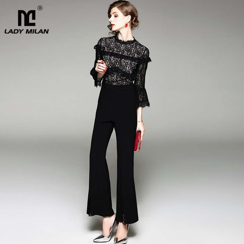 New Arrival 2018 Womens O Neck 3/4 Flare Sleeves Lace Bodice Patchwork Fashion Long Jumpsuits& Rompers