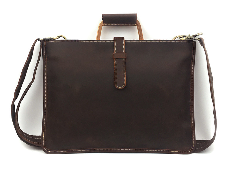 Nesitu High Quality Vintage Brown Genuine Leather A4 Men Briefcase Crazy Horse Leather Messenger Bag Male Portfolio M1823