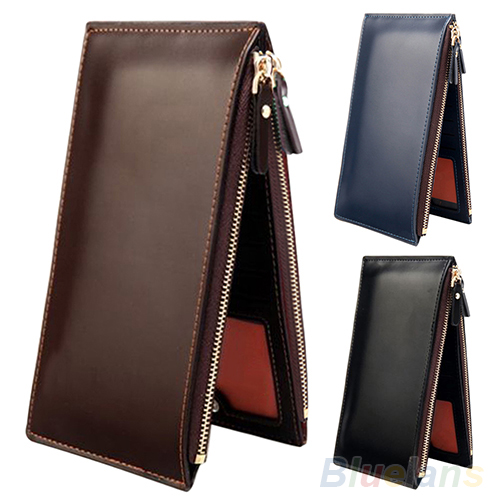 Mens Fashion Long Faux Leather Zipper Id Credit Card Holder Bifold Wallet BVH3