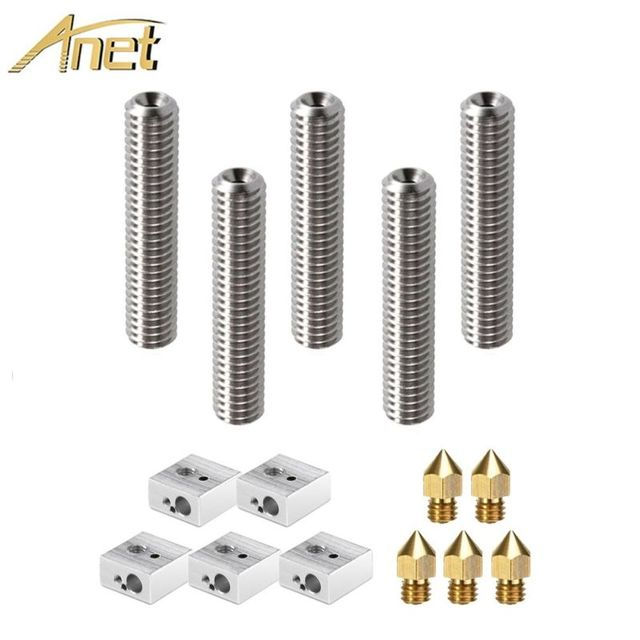 Anet A8 15pcs 1.75mm Teflon Throat Tube+0.4mm Extruder Nozzle Print Heads +M6 Heater Block Hotend for Anet A8 3d printer parts