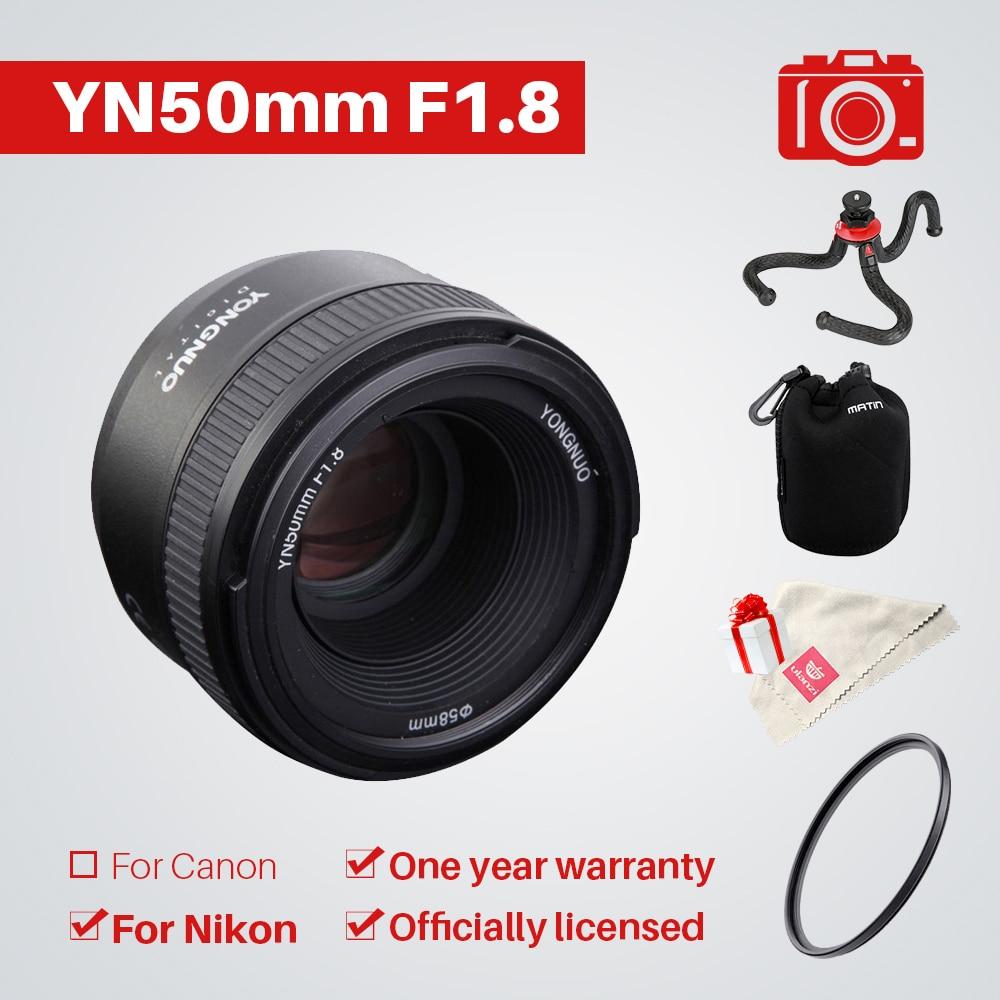 YONGNUO YN50mm F1.8 1:1.8 lens Standard Prime Lens Large Aperture Auto Manual Focus AF MF UV Bag for Nikon DSLR Camera yongnuo yn35mm af mf fixed focus camera lens f2n f2 0 wide angle f mount for nikon d7200d7100 d300 d5500 d500 dslr free lens bag