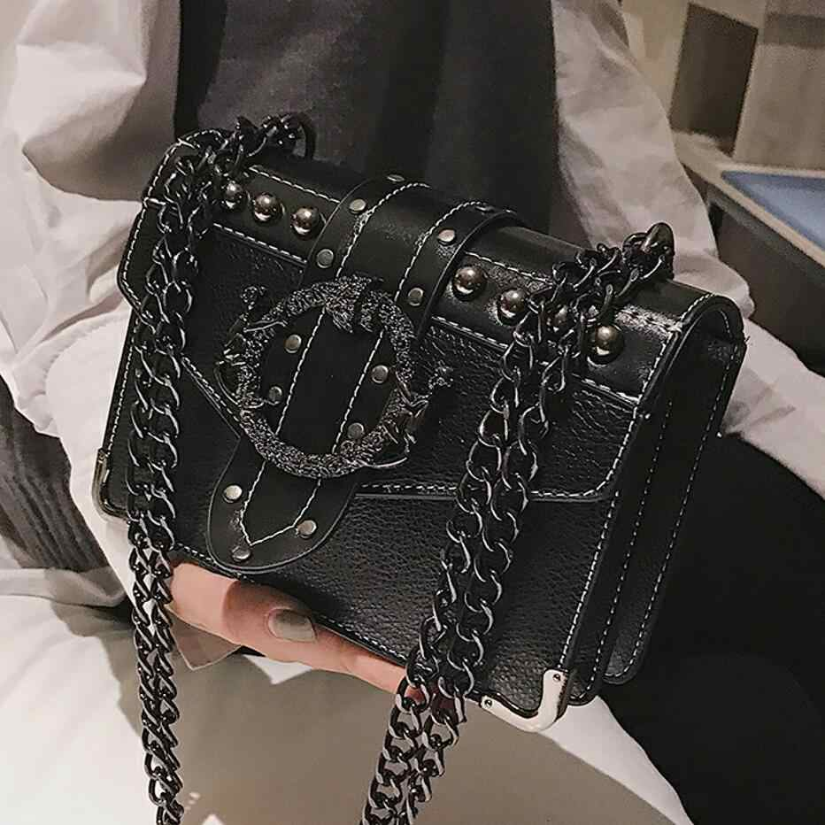 European Fashion Female Square Bag 2018 New Quality PU Leather Women's Designer Handbag Rivet Lock Chain Shoulder Messenger bags
