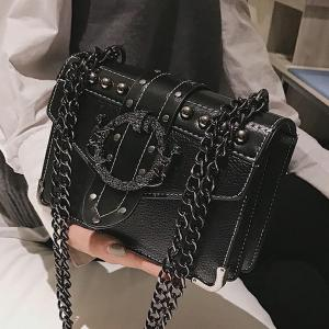 European Fashion Female Square Bag 2020 New Quality PU Leather Women's Designer Handbag Rivet Lock Chain Shoulder Messenger bags(China)